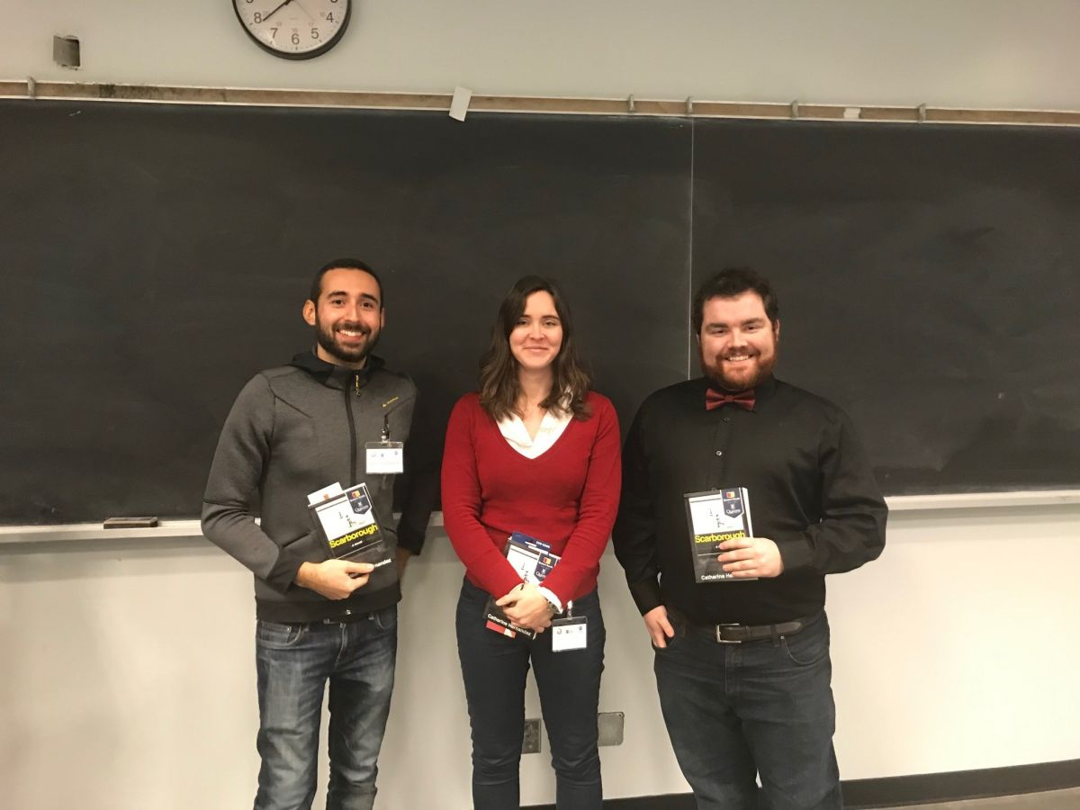 BWRC Forum 2018 Poster Winners- 1st-Katherine Moir (middle), 2nd-David Patch (right), 3rd-Xavier Solimando (left).